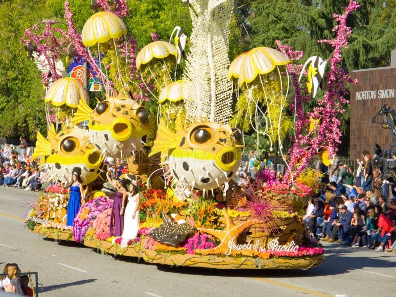 Juwelen des Pazifiks an der Rosen-Schüssel-Parade stockfoto
