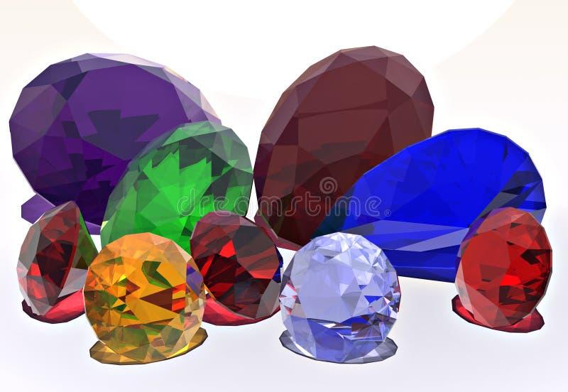 Juwelen, diamant, robijn, Saffier vector illustratie