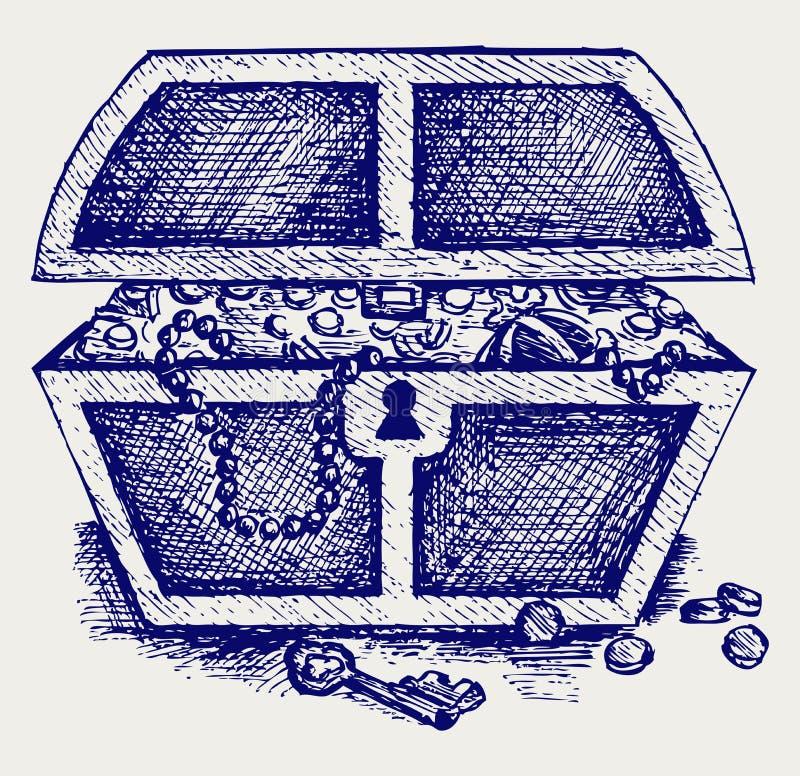 Download Juwelen en een doos vector illustratie. Illustratie bestaande uit freehand - 29506566