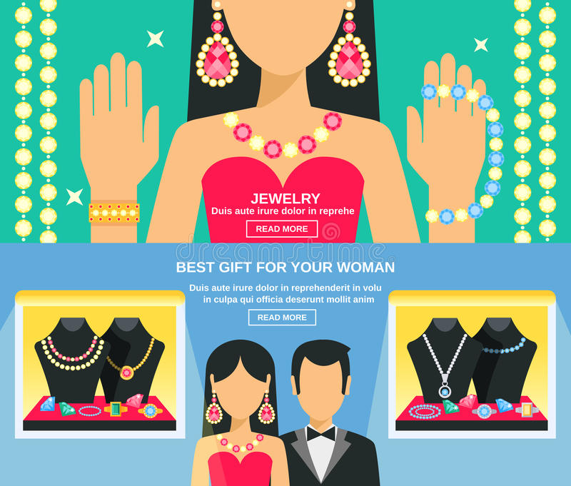 Juwelen en Giften voor Geplaatste Vrouwenbanners vector illustratie