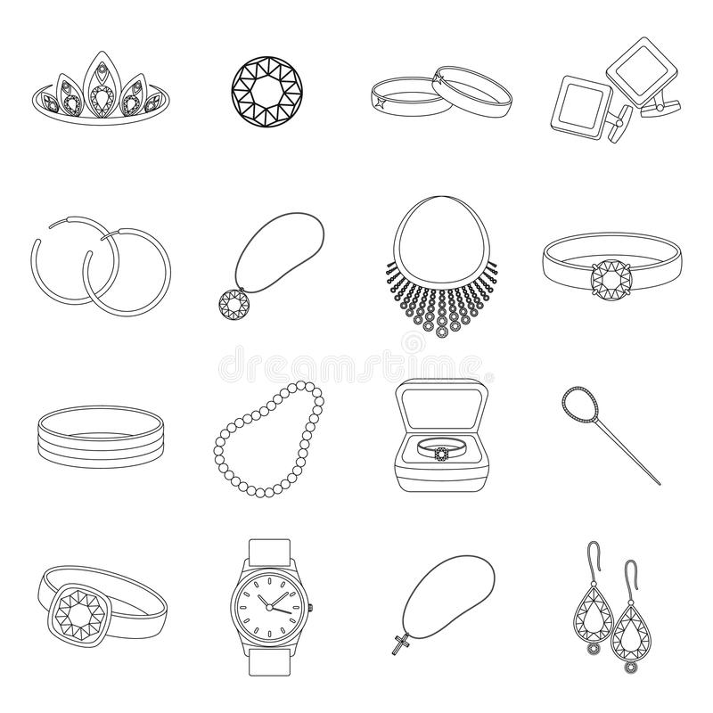 Juwelen en toebehoren geplaatst pictogrammen in overzichtsstijl Grote inzameling van juwelen stock illustratie