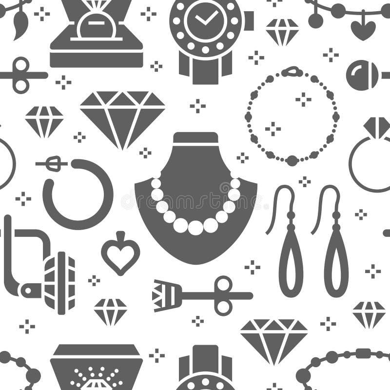 Juwelen naadloos patroon, glyph illustratie Vectorsilhouetpictogrammen van juwelentoebehoren - gouden verlovingsringen royalty-vrije illustratie