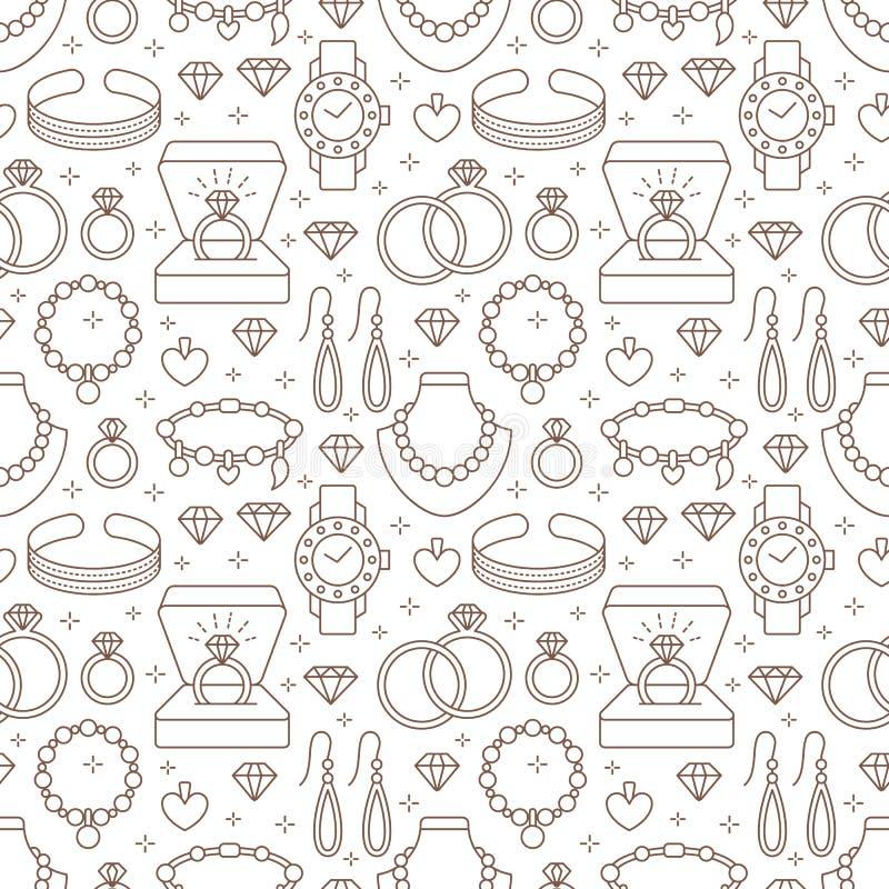 Juwelen naadloos patroon, lijnillustratie Vector vlakke pictogrammen van juwelentoebehoren - gouden verlovingsringen, diamant royalty-vrije illustratie