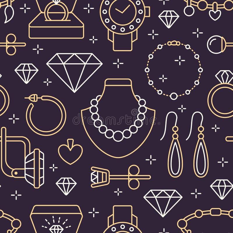 Juwelen naadloos patroon, lijnillustratie Vectorpictogrammen van juwelentoebehoren - gouden verlovingsringen, diamant, parel stock illustratie