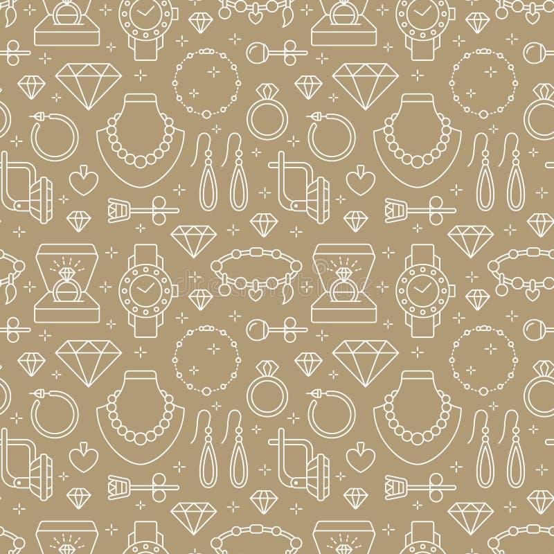 Juwelen naadloos patroon, lijnillustratie Vectorpictogrammen van juwelentoebehoren - gouden verlovingsringen, diamant, parel vector illustratie