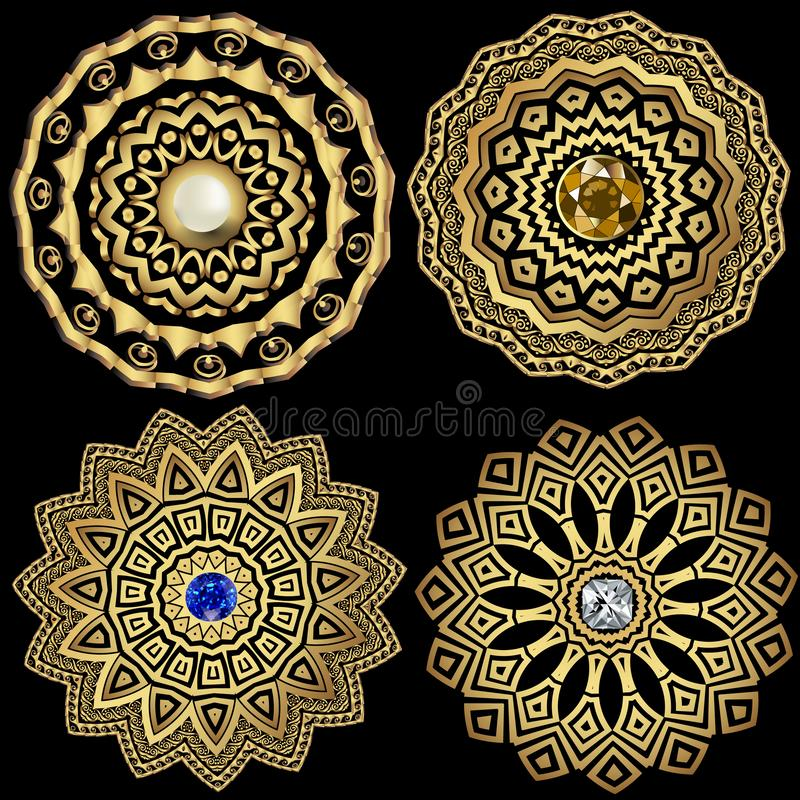 Juwelen om Griekse vector geplaatste mandalapatronen Bloemen Griekse zeer belangrijke meanderornamenten Geometrische etnische sta royalty-vrije illustratie