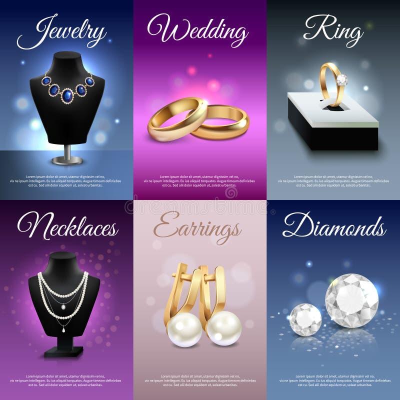 Juwelen Realistische Banners royalty-vrije illustratie
