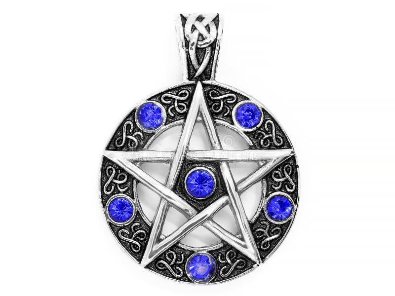 Juwelen, tegenhanger Magische pentagram Roestvrij staal stock foto's