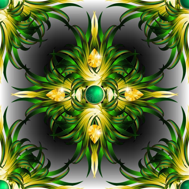 Juwelen tropisch bloemen 3d naadloos patroon Overladen exotische tropische achtergrond De kleurrijke uitstekende achtergrond van  royalty-vrije illustratie