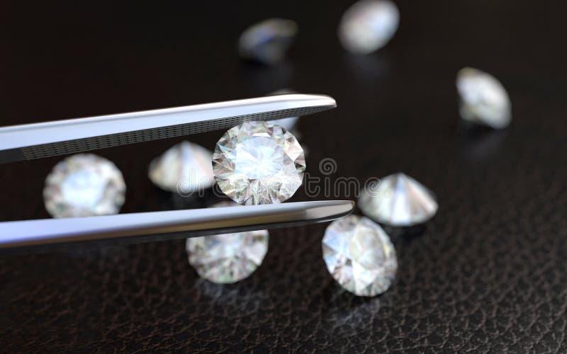Juwelen tweezer en Diamanten stock afbeeldingen