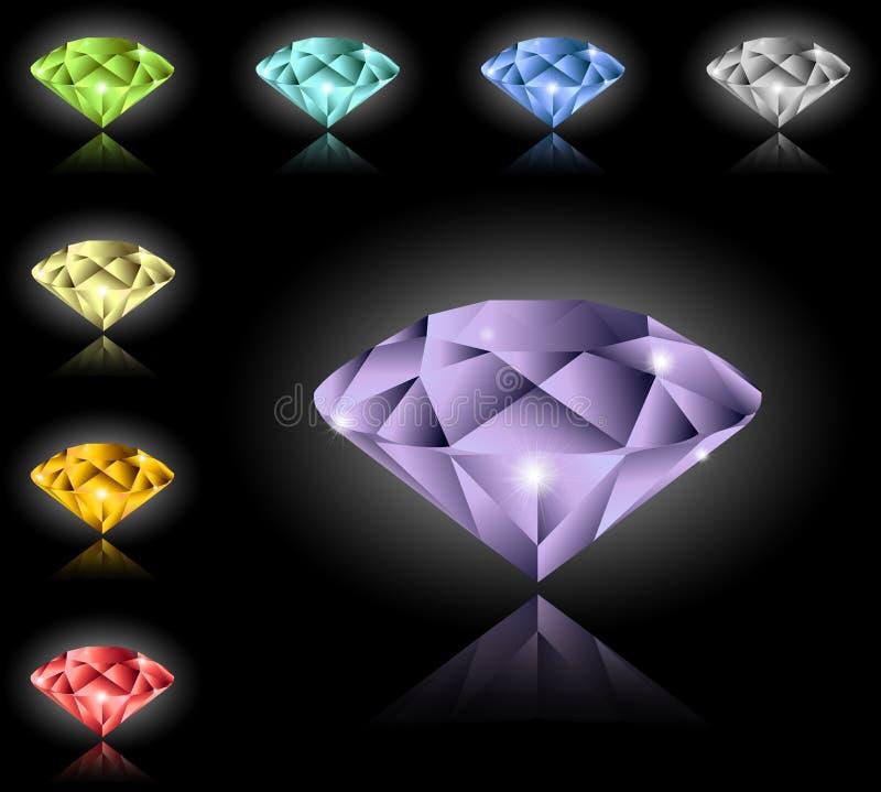 Juwelen und Diamanten eingestellt stock abbildung