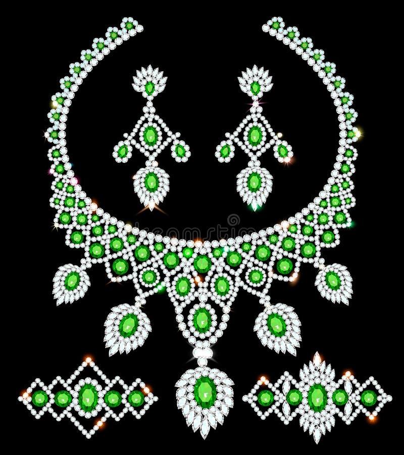 juwelen vastgestelde halsband, oorringen en armbanden met smaragden en diamanten stock illustratie