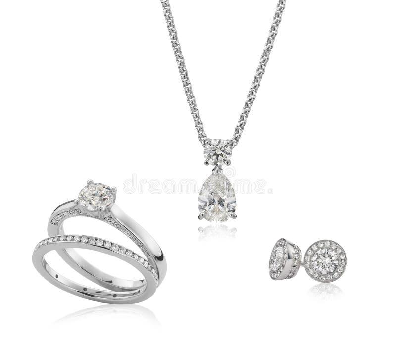 Juwelendiamant en gouden reeks stock afbeelding