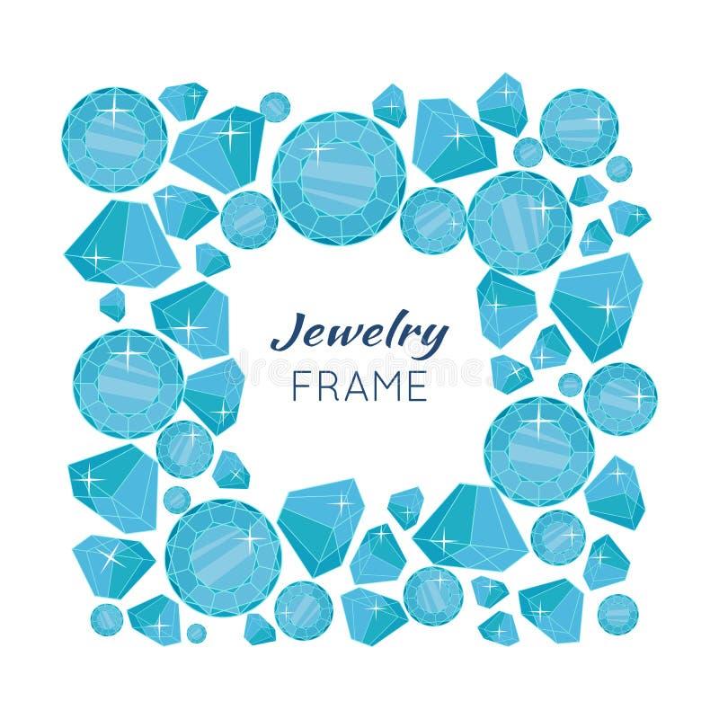 Juwelenkader met Diamanten van Verschillende Grootte stock illustratie