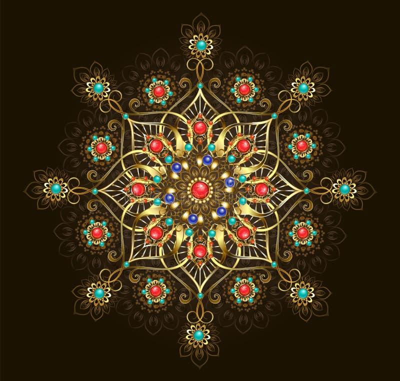 Juwelenmandala op bruine achtergrond vector illustratie