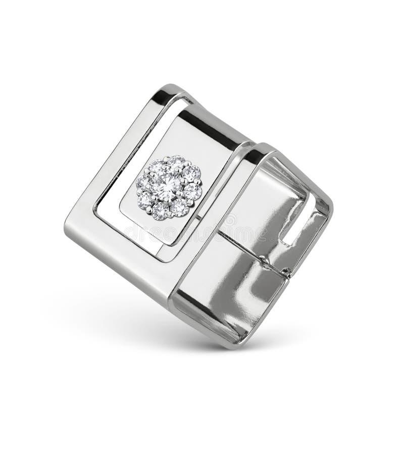 Juwelenring met diamanten, vierkante die vorm, op wit wordt geïsoleerd stock afbeeldingen