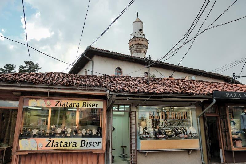 Juwelenstraat in Novi Pazar, Servië stock foto's