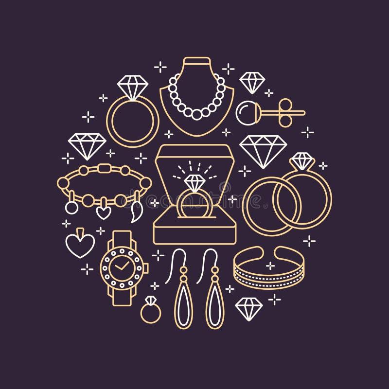Juwelenwinkel, de bannerillustratie van diamanttoebehoren Vectorlijnpictogram van juwelen - gouden horloges, verlovingsringen, ge royalty-vrije illustratie