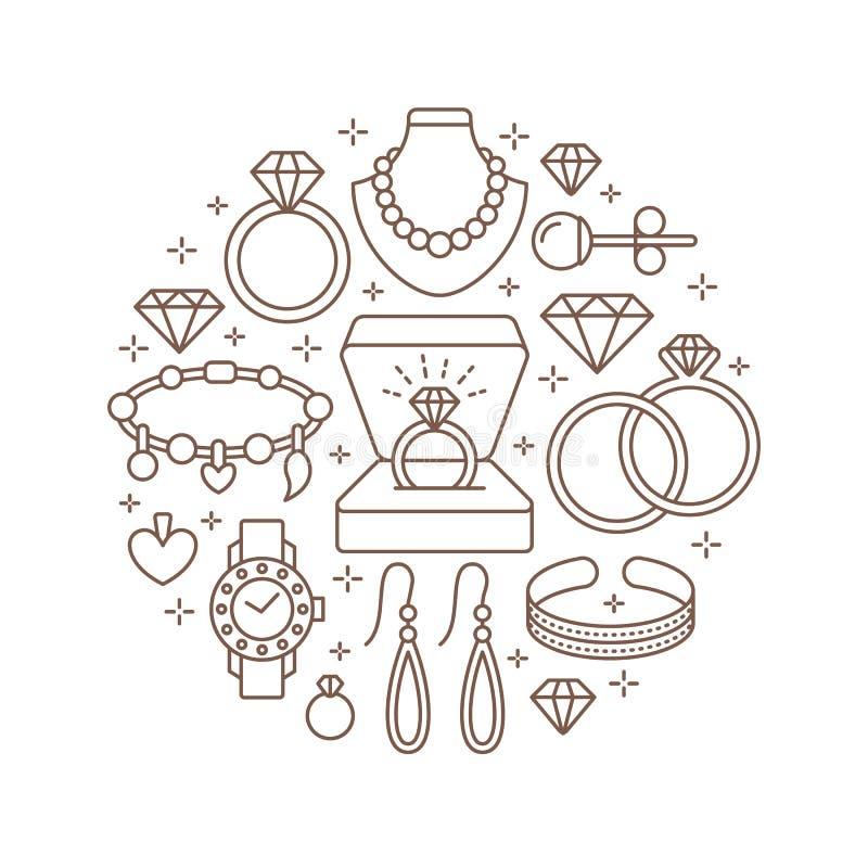 Juwelenwinkel, de bannerillustratie van diamanttoebehoren Vectorlijnpictogram van juwelen - gouden horloges, verlovingsringen, ge vector illustratie