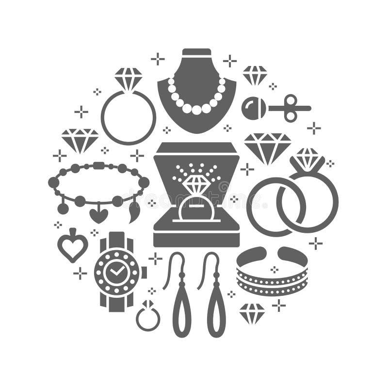 Juwelenwinkel, de bannerillustratie van diamanttoebehoren Vectorsilhouetpictogrammen van juwelen gouden horloges, verlovingsringe stock illustratie