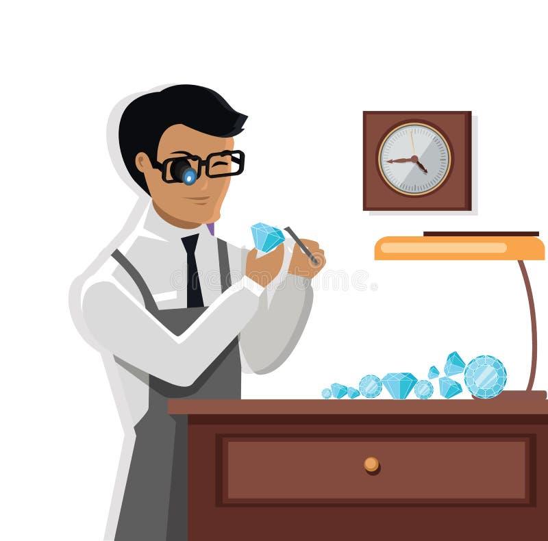 Juwelier Man Examines der Diamant lizenzfreie abbildung