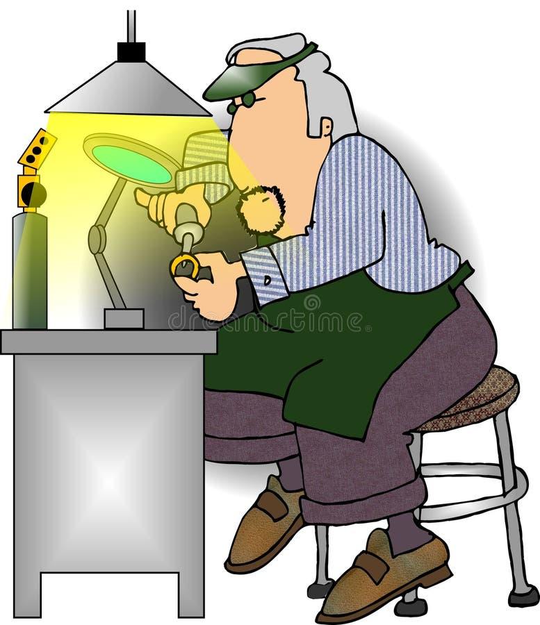 Juwelier op het werk stock illustratie