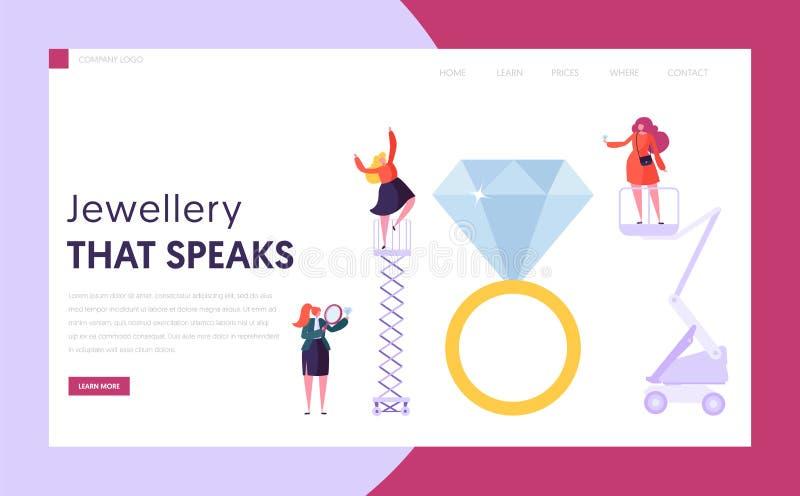 Juwelier Seller Hold Diamond Landing Page Het vrouwelijke Karakter koopt Ring bij Halfedelsteenwinkel Het Conceptenwebsite van de stock illustratie