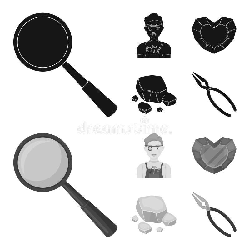 Juwelier, Zangen, Golderz, Granat in Form von Herzen Kostbare Mineralien und gesetzte Sammlungsikonen des Juweliers im Schwarzen vektor abbildung