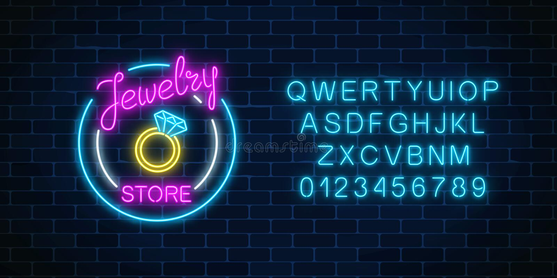 Juweliergeschäftglühendes Neonschild mit Alphabet Glänzendes Zeichen der Juwelshop-Anzeige vektor abbildung