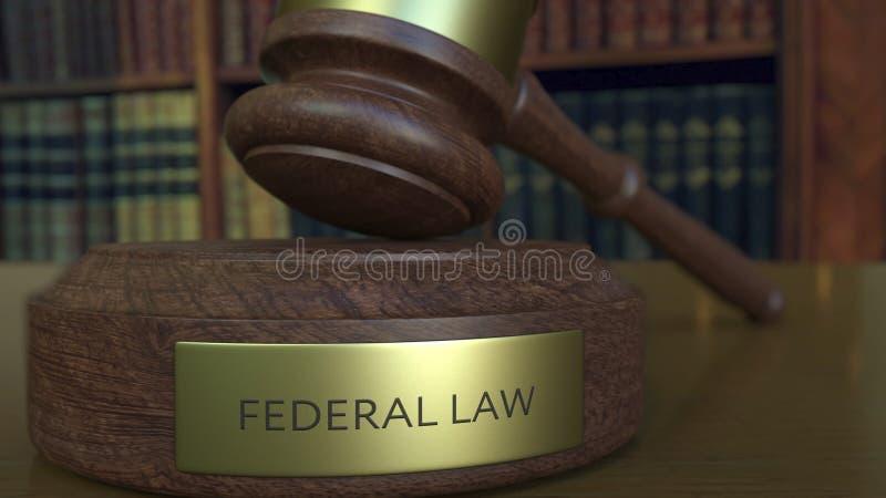 Juzgue el mazo del ` s que golpea el bloque con la inscripción de la LEY FEDERAL representación 3d stock de ilustración
