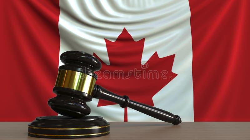 Juzgue el mazo del ` s y bloquéelo contra la bandera de Canadá Representación conceptual 3D de la corte canadiense ilustración del vector