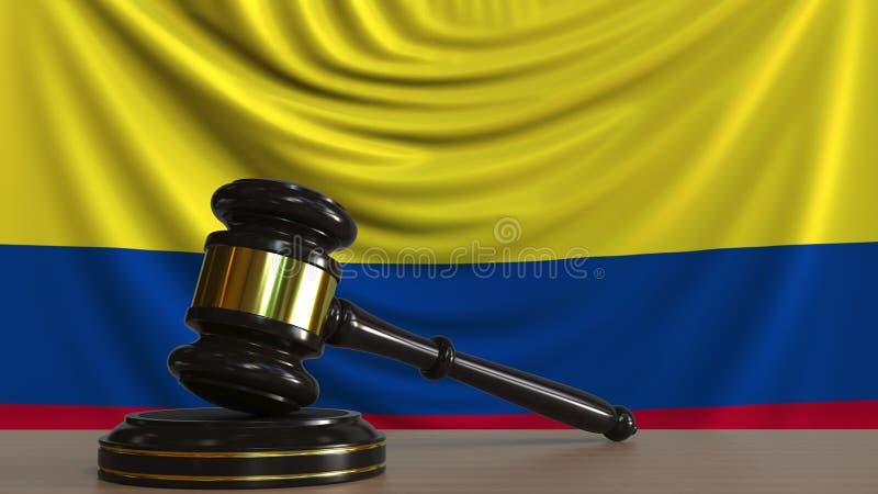 Juzgue el mazo del ` s y bloquéelo contra la bandera de Colombia Representación conceptual 3D de la corte colombiana stock de ilustración
