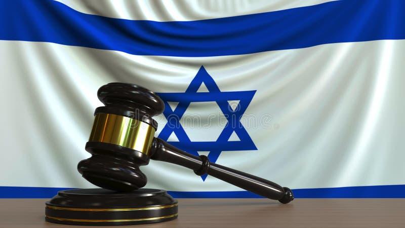 Juzgue el mazo del ` s y bloquéelo contra la bandera de Israel Representación conceptual 3D de la corte israelí libre illustration