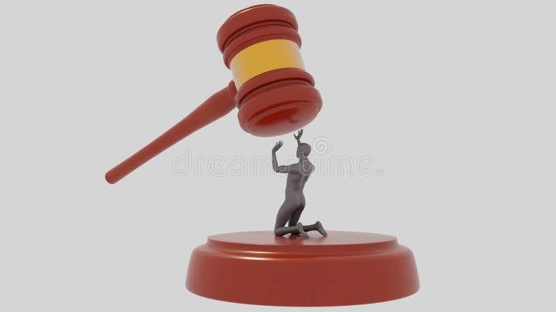 Juzgue a Hammer en el fondo blanco con el ser humano gris Injusticia de la ley Injusto acusado mazo 3d rinda imágenes de archivo libres de regalías