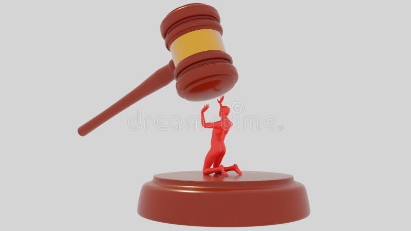 Juzgue a Hammer en el fondo blanco con el ser humano rojo Injusticia de la ley Injusto acusado mazo 3d rinda imagenes de archivo