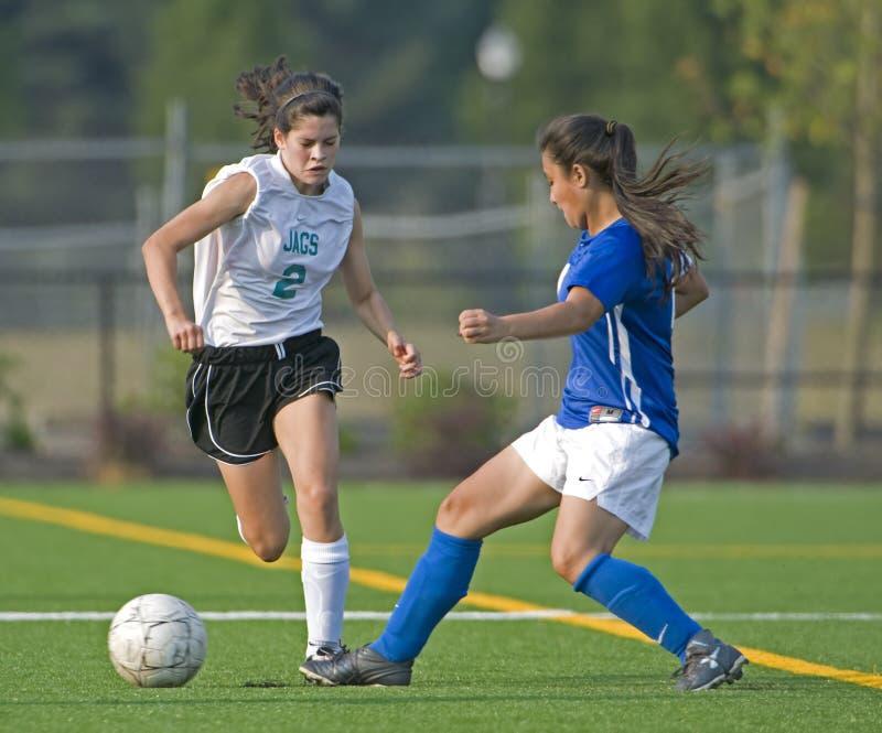 JV delle ragazze di calcio fotografie stock libere da diritti