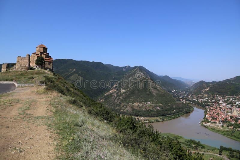 Jvari修道院和姆茨赫塔的看法  库存图片