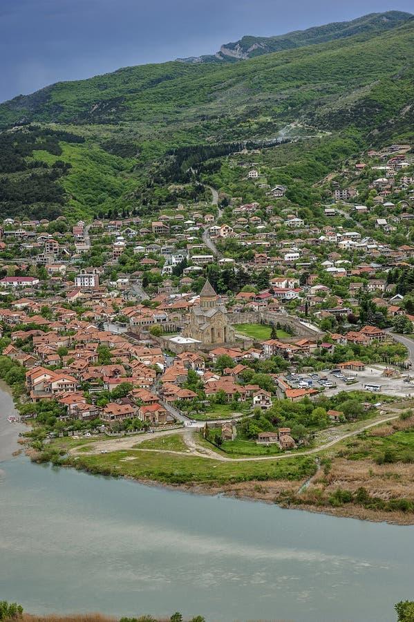 Jvari - Georgische klooster en tempel van VII eeuw royalty-vrije stock fotografie