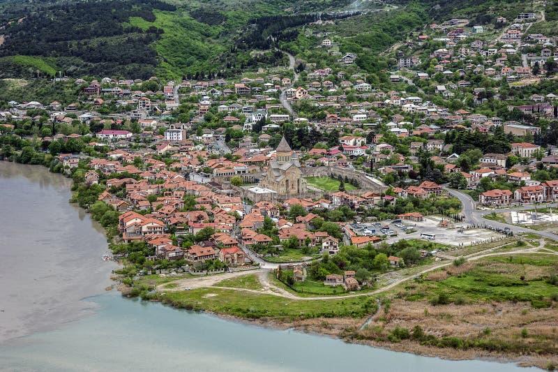 Jvari - Georgische klooster en tempel van VII eeuw stock foto's