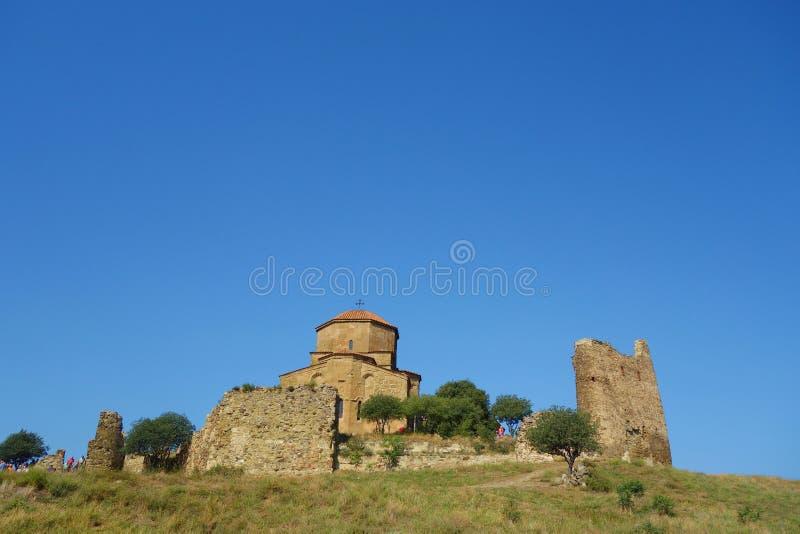 Jvari kloster Det är en georgisk ortodox kloster för det sjätte århundradet nära Mtskheta, östliga Georgia det listas som en värl arkivbilder