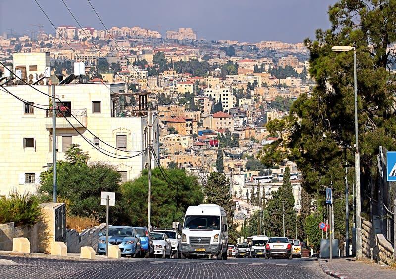 JView da estrada no Jerusalém, Israel fotografia de stock royalty free
