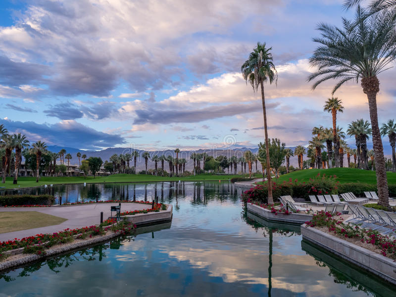 JW Marriott Desert Springs Resort & Spa. PALM DESERT, CA - NOV 15: View of the grounds at the JW Marriott Desert Springs Resort & Spa on November 15, 2015 in royalty free stock photography