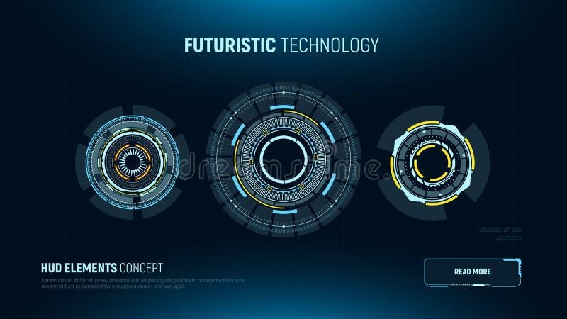 Kółkowi futurystyczni interfejs użytkownika Hud elementy Fantastyka naukowa ekranu dotykowego pokaz również zwrócić corel ilustra royalty ilustracja