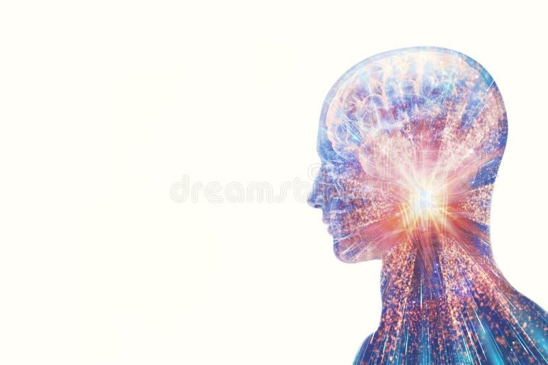 Künstlerische Zusammenfassungs-moderne menschliche künstliche intelligente Schnittstelle auf einem weißen Hintergrund stock abbildung