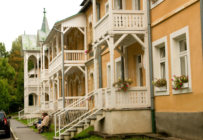 Kúpele de Bardejovské del balneario - recurra cerca de Bardejov, Eslovaquia imagen de archivo