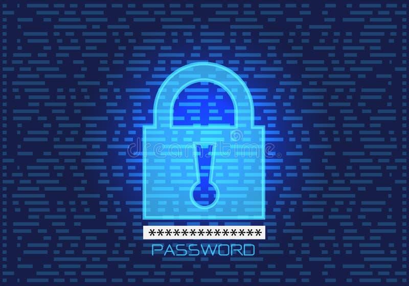 Kędziorka hasła klucza dane bezpieczeństwa komputerowego projekta parawanowej nowożytnej technologii tła futurystyczny wektor ilustracja wektor