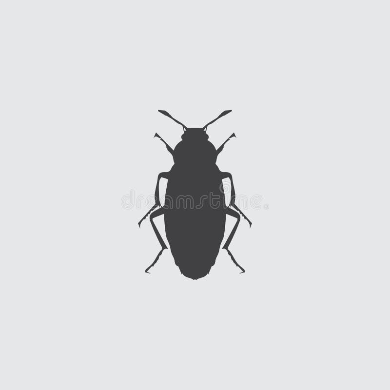 Käferikone in einem flachen Design in der schwarzen Farbe Vektorabbildung EPS10 stock abbildung