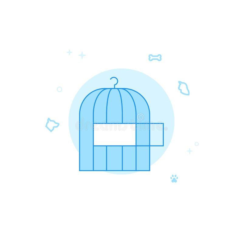 Käfig für Vogel-flache Vektor-Illustration, Ikone Hellblauer einfarbiger Entwurf Editable Anschlag stock abbildung