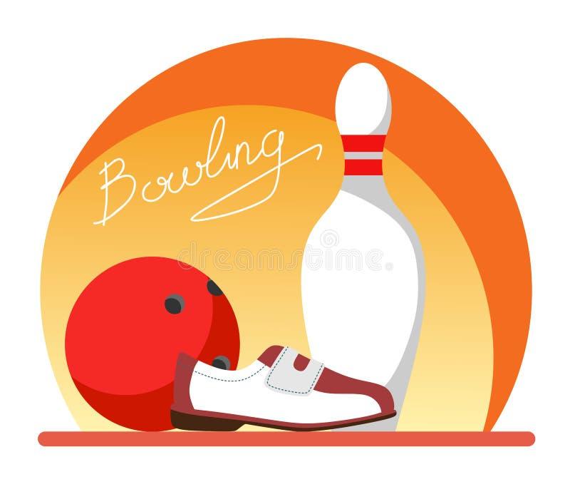 Käglor, boll och bowlingskor med textbowling Plan stilillustration royaltyfri illustrationer