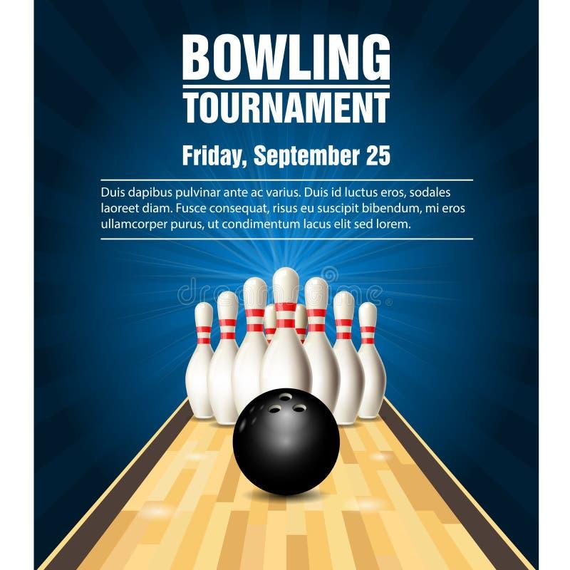 Käglor och bowlingklot på bowlingdomstolen vektor illustrationer